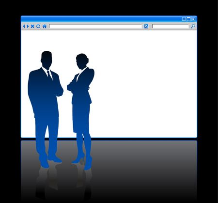 browser business: Original Illustration: Business people on background with web browser blank page File is AI8 compatible