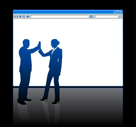 browser business: Origianl Illustration: Business people on background with web browser blank page File is AI8 compatible  Stock Photo