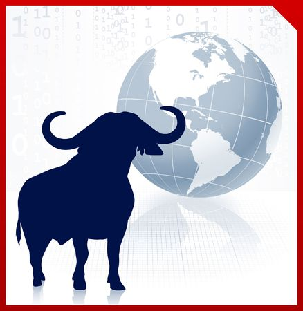 hoofs: bull on business background with red border Original Illustration Wild Bull on unique creative background Ideal for stock market concepts