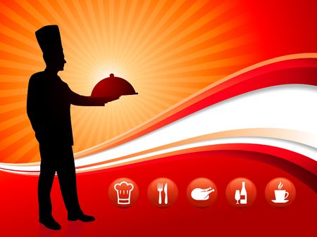 chef on red dinner background Original Illustration Chef on unique creative background  Stock Photo