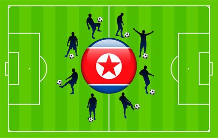 Korea DPR Flag Icon Internet Button with Soccer Match Original Vector Illustration