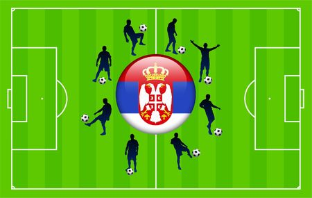 Serbia Flag Icon Internet Button with Soccer Match Original Illustration