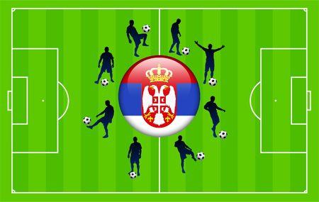 serbia: Serbia Flag Icon Internet Button with Soccer Match Original Illustration