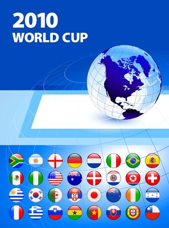 2010 World Cup Team Flag Internet Buttons with Globe Original Vector Illustration  illustration