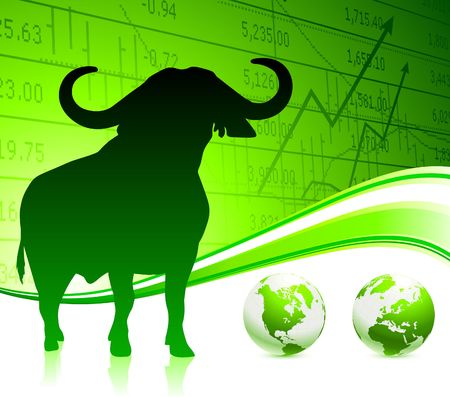 bull on green business background Original Vector Illustration Wild Bull on unique creative background Ideal for stock market concepts
