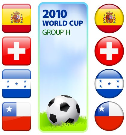 the world cup: Illustrazione originale per il H il gruppo Coppa del mondo 2010