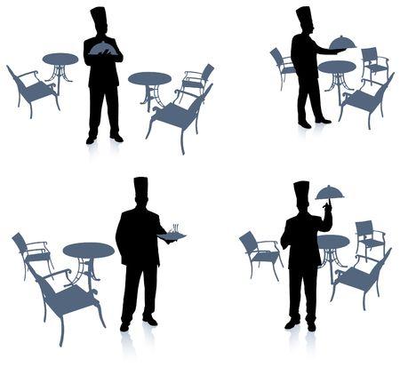 prepare: Chef silhouette at cafe Original Illustration Chef on unique creative background