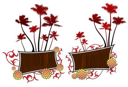 Origianl Illustration: palm trees background File is AI8 compatible  Imagens