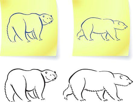 그것에 북극곰 드로잉 노트 원래 벡터 일러스트 포함 6 색 버전 스톡 콘텐츠