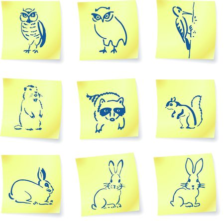 forest creatures drawings on post it notes original illustration 6 color versions included Stock fotó