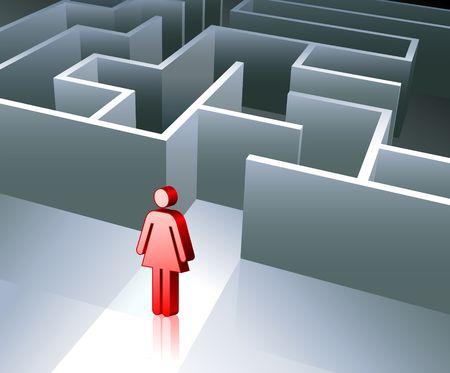 Original Vector Illustration: Business gender figure on maze background AI8 compatible illustration