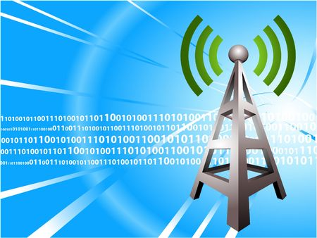 radio tower: Digital Radio tower wave modern Background Original Illustration Ideal for internet concepts