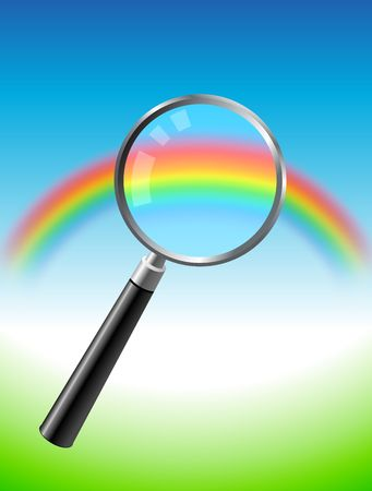 Original Vector Illustration: colorful rainbow under magnifying glass AI8 compatible Stok Fotoğraf