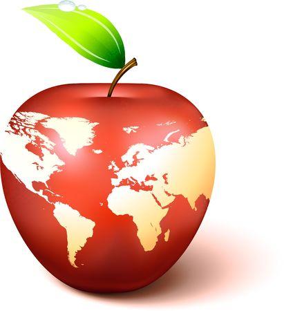 Apple Globe with World Map Original Vector Illustration Apple Illustration  Reklamní fotografie