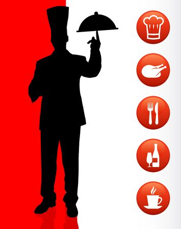 food plate: Chef with dinner icons Original Illustration Chef on unique creative background