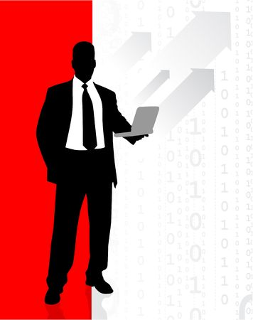 accessing: Origianl Vector Illustration: Business man accessing internet on laptop File is AI8 compatible