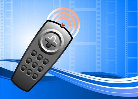 Original Illustration: TV remote control on film background AI8 compatible