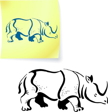 Rhinoceros drawing on post it note original illustration 6 color versions included illustration