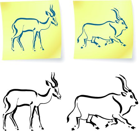 Wild animals drawings on post it notes original vector illustration 6 color versions included