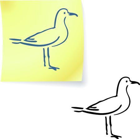 seagull on post it notes original illustration 6 color versions included