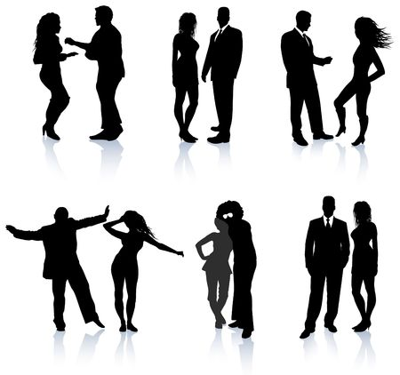 back to back couple: Party People Silhouette Collection Original Illustration People Silhouette Sets