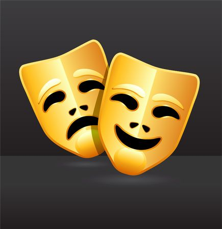 Original Illustration: Comedy and tragedy theater masks AI8 compatible