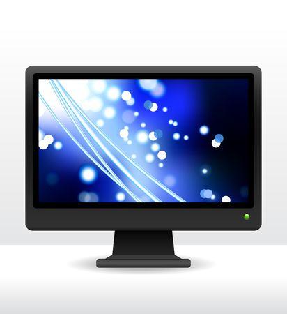 Original Vector Illustration: computer monitor with fiber optic internet background AI8 compatible illustration