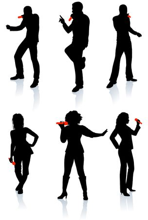 Singers Silhouette Collection Original Illustration People Silhouette Sets illustration