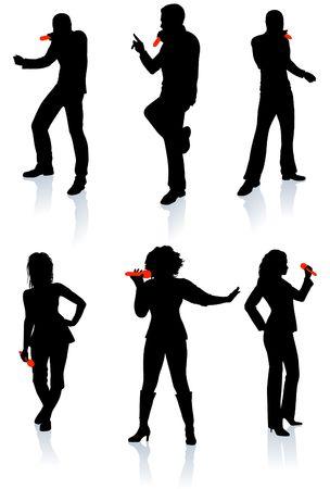 Zangers silhouet collectie originele illustratie mensen silhouet Sets