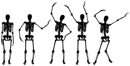 Original Illustration: skeleton silhouette movements on white background AI8 compatible Stok Fotoğraf