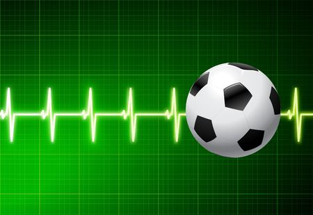 Soccer Ball with Green Pulse Original Illustration AI8 Compatible Reklamní fotografie - 6574433
