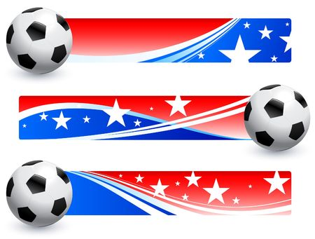 Soccer (football) Ball with American Banners Original Illustration AI8 Compatible illustration