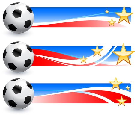 Soccer (football) Ball with American Banners Original Illustration AI8 Compatible Stock Photo
