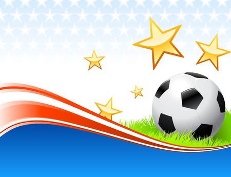 Soccer Ball on Abstract Patriotic Background Original Illustration AI8 Compatible illustration
