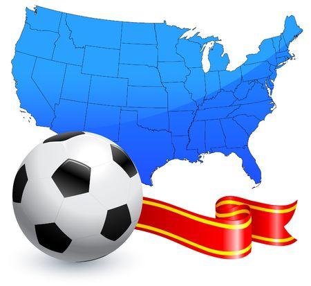 Soccer Ball with Ribbon and USA Map Original Illustration AI8 Compatible
