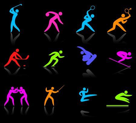deportes olimpicos: Ilustraci�n original: colecci�n de iconos de deporte Ol�mpico y competative