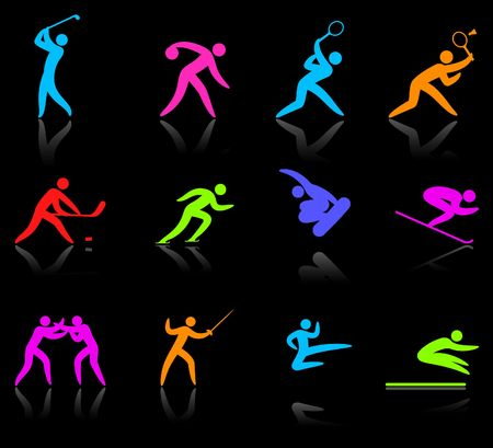 kwon: Original illustration: competative and sports competition sports icon collection Stock Photo