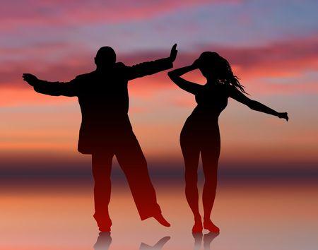 Oorspronkelijke illustratie: Man en vrouw dansen op zomer zons ondergang achtergrond AI8 compatibel Stockfoto