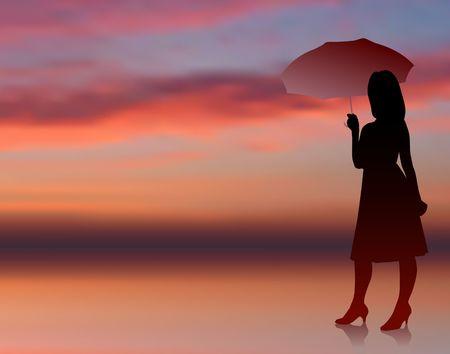 sexy umbrella: Original Illustration: classy and sexy woman with umbrella internet sunset background AI8 compatible
