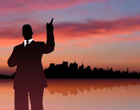 Original Illustration: businessman with city and sunset internet background AI8 compatible Stock Illustration - 6572140