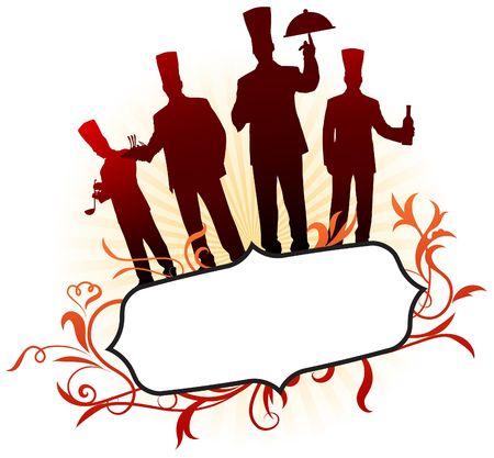 Chefs op abstract frame achtergrond origineel illustratie chef-kok op unieke creatieve achtergrond  Stockfoto