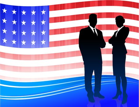 compatible: Origianl Illustration: Business team on Patriotic American Flag background File is AI8 compatible  Stock Photo