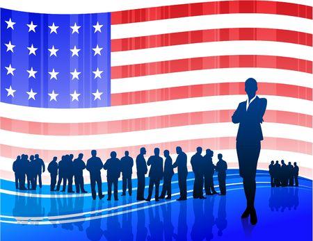 Origianl Illustration: Businesswoman on Patriotic American Flag background File is AI8 compatible