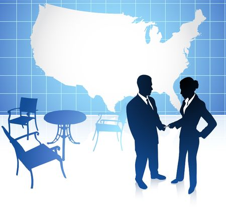Original Vector Illustration: businessman and businesswoman meeting at cafe on united states background AI8 compatible illustration