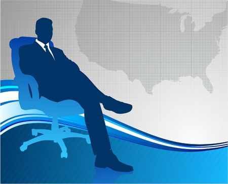 Original Vector Illustration: Business executive on US map background AI8 compatible illustration
