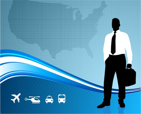 Original Illustration: Business traveler on global communication background AI8 compatible illustration