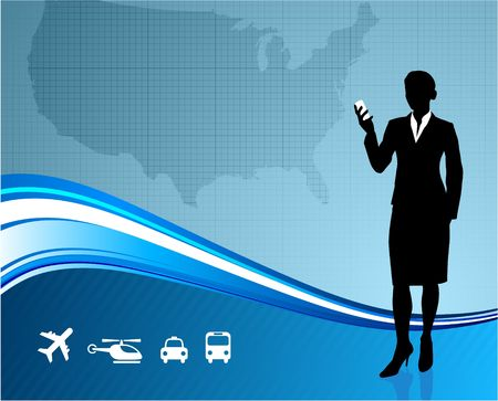 Original Illustration: Female Business traveler on US map background AI8 compatible illustration
