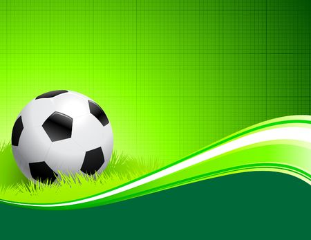 compatible: Soccer Ball on abstract green Background Original Illustration AI8 Compatible Stock Photo