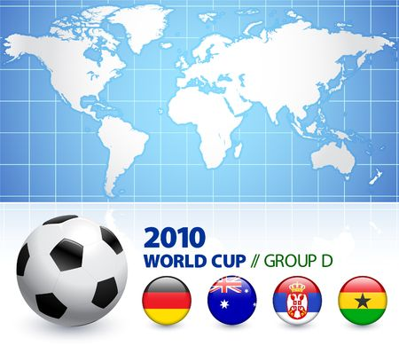 the world cup: Illustrazione originale del gruppo D di Coppa del mondo 2010  Archivio Fotografico