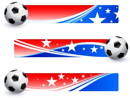 World Cup 2010 Soccer Ball with American Banner Collection Original Illustration  illustration